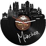 GRAVURZEILE Wanduhr aus Vinyl Schallplattenuhr Skyline München Upcycling Design Uhr Wand-Deko Vintage-Uhr Wand-Dekoration Retro-Uhr Made in Germany