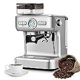 DREAMADE Siebträgermaschine Kaffeemaschine Edelstahl, Espressomaschine mit PID-Temperaturregler & Mahlwerk, Kaffeepadmaschine mit 2L Abnehmbarem Wassertank für 1-2 Tassen, Silber