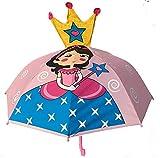 HECKBO 3D Kinder Regenschirm Princess   Prinzessin mit Krone und Zauberstab   Umbrella Kids Sonnenschirm für Mädchen   Schulkinder Kindergartenkinder   wasserdicht und Winddicht   L: 59cm, D 73cm