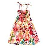 JUTOO Säuglingskindermädchenbaby-Kleidungs-Nationale Art mit Blumenböhmisches Strandgurt-Kleid (Rosa,130)