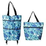 N\O Yisika Einkaufstasche Faltbar,Einkaufstasche auf Rädern,2 in 1 Mehrweg-Einkaufstaschen Hochleistungs-Kapazitätstasche für den Supermarkt zu Hause