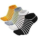 Zehensocken Damen Fünf Finger Socken aus Baumwolle, Damen Sneaker Socken mit Zehen für Sport Laufende Freizeit, atmungsaktive und bunte Socken, 4/5 Paare, Streifen 1- 4 Paare, EU 36-41