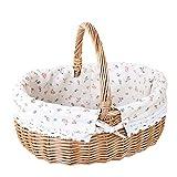 TYUXINSD Schön Camping Wicker Basket Willow Picknickkorb Hamper Einkaufskorb Tasche mit Deckel und weißem Liner für Outdoor Camping Picknick Picnicware