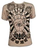 Sure T-Shirt Herren Hamsa Hand Drittes All-Sehendes PSY Auge Lotus-Blume Fatimas Psychedelic Goashirt Yoga Shirt (Khaki Braun XL)