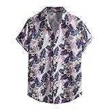 Hemd Streifenspleißen Oversize Shirt Bunte Freizeithemd Kurzarm Hawaiihemd Viskose Hemd Regenbogen Oberhemden Mit Vintage Stil Kragen Sommer