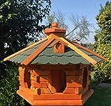 DARLUX Vogel Futter Haus XL Futterstelle Sechseck aus Holz Vogelhaus Braun/Grün