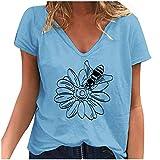 Qigxihkh Damen Casual Fashion Abstract Print Halber Stehkragen Kurzärmelige Oberteile(11-Blau, S)