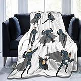 ALLMILL Soft Fleece Überwurfdecke,Superheld Spaß Cartoon Mann im Kostüm Posing Hero Flying Running Superpowers Kunstdruck Dekorativ Weiß Grau,Home Hotel Bed Couch Sofa Überwurfdecken fü
