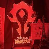 3D-Illusionslampe LED-Nachtlichtspiel Warcraft Horde Flag Farbwechsel für Kinder Kinderbett Zimmer Dekor Touch Sensor Lampe Wow Geschenk