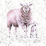 Wrendale Design Schaf und Lamm Druck auf quadratischer Leinwand 'While Shepherds Watched Their Flock'