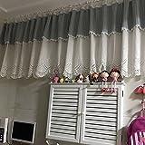 Hengqiyuan Bistrogardine Landhausstil Vintage Baumwolle Schiebevorhang Einfache Romantische Küchen Vorhang Romantische Cafe Fensterdeko,Blaue weiße,51x21zoll