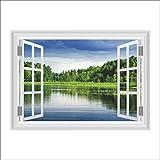 Wandtattoo Fenster 3D Fensterblick Seenlandschaft Selbstklebendes Poster 50 x 70
