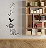 Abstrakte Vogel Buch Wandaufkleber Lesesaal Schulbibliothek Cafe Klassenzimmer Arbeitszimmer Dekorative Kunst Wandaufkleber Wandbild andere Farbe 22x57cm