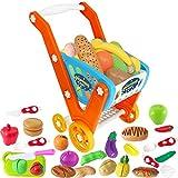 Einkaufswagen für Kinder, 33 Stück Kaufladen Zubehör Set mit Lebensmittel Spielzeug und Schneiden Obst Gemüse, Übergröße Rollenspiel Trolley Cart, Lernspielzeug Geschenk ab 3+ Jahren Junge Mädchen