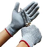 Biluer 2 Paare Schnittfeste Handschuhe Schnittschutz Handschuhe Küchen Sicherheitshandschuhe Level 5 Schutz für Küche Metzger Arbeit SchutzHände,Größe M And L