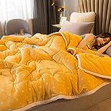 Amosiwallart Decke hochwertige Wohndecken Kuscheldecken, extra warm Sofadecke/Couchdecke in zweiseitig, super flausch Fleecedecke als Sofaüberwurf oder Wohnzimmerdecke -Kraftgelb_180 * 200 cm