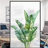 Mattierte Fensterfolie-3D Grünes Pflanzmuster Nicht klebender Fensteraufkleber Anhaftende Fensterfolie Privatsphäre Statische Glasfolie Undurchsichtige dekorative Fensterabdeckung,A,60x100cm