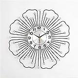Z IMEI Kreativ Blumen Wanduhr,Heimdekoration Metall Wanduhren,Lautlos Ohne Ticken Wanduhr,Batteriebetrieb,Wohnzimmer Büro-Schwarz 60cm