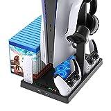 YDYBY Ständer für PS5 mit Gaming-Headset-Ständer und 15 Stück Spiele-Discs-Aufbewahrung Multifunktionaler Vertikaler Ständer mit Lüfter und PS5-Controller-Ladestation