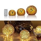3er Set Glaskugeln mit LED Lichterkette inkl. Timer und Ferbedienung - In und Outdoor geeignet - Deko Kugeln in Bruchglasoptik - LED Beleuchtung (Gold)