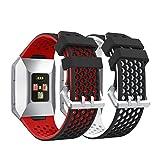Syxinn Kompatibel mit Armband Fitbit Ionic Armband, Ersatz Uhrenarmbänd Strap Weiches Silikon Sportarmband Erstatzband für Ionic Watch (B, 2 Stück)
