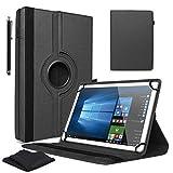 """Schwarz 10.1"""" Zoll Tablet Hülle für Huawei Mediapad T3 10 & T5 + Stylus Pen und Bildschirm Reinigungstücher - 360 Grad Drehbarer PU Leder Case, Schutzhülle mit Ständer Funktion"""