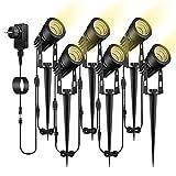 Gartenbeleuchtung B-right 6 in 1 Gartenleuchte mit Erdspieß, 6er Set 3W Gartenstrahler mit Stecker, Gartenlicht Gartenlampe mit Kabel, 1800 Lumen, IP65 Wasserdicht Rasenstrahler Rasenlicht für Außen