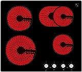 K&H® 4 Zonen Glaskeramikkochfeld mit Knebel Steuerung 59cm Elektro Autark rahmenlos CK-7206