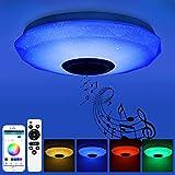 Prenine 36W LED Musik Deckenleuchte Dimmbar mit Bluetooth Lautsprecher 3400LM, RGB Farbwechsel, Musikwiedergabe, LED Deckenlampe Lampe für Küche,Schlafzimmer, Badezimmer, W