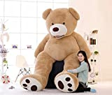 DIS Super-riesiger gefüllter Plüsch-Bär, gigantisches Plüschtier, braun und violett, hellbraun, 130 cm