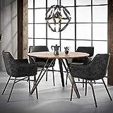 Pharao24 Runder Tisch in Eiche und Stahl 120 cm b