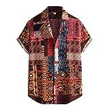 Funky Hawaiihemd Herren Leinen Viskose Hemd mit Muster Kurzarmhemd Oversize Shirt MäNner Bunte Herrenhemden Casual Locker Gedruckt Sommerhemden Kent Kragen Hawaiihemd
