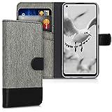 kwmobile Hülle kompatibel mit Samsung Galaxy A21s - Kunstleder Wallet Case mit Kartenfächern Stand in Grau Schw