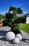 TRANGO 3er Set 202540G Gartenkugel IP65 Granitstein-Optik Kugelleuchte *Nature* mit 20/25/40cm Durchmesser inkl. ca. 5 Meter IP44 Zuleitungskabel & E27 Fassung Kugellampe, Gartenleuchte, Außenleuchte