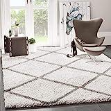 VIMODA Hochflor Shaggy Teppich Rauten Muster Design Wohnzimmer Creme Grau Modern, Maße:160x220 cm