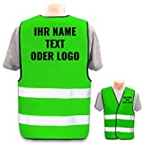 Hochwertige Warnweste mit Leuchtstreifen * Bedruckt mit Name Text Bild Logo Firma * personalisiertes Design selbst gestalten, Farbe Warnweste:Neon Grün (XL/XXL), Druckposition:Rücken + Linke B