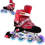 HUSHUI Kids Rollschuhe, 2 in 1 Rollschuhe 4 Größenverstellbare Rollschuhe für Kinder und Erwachsene Outdoor Flashing Wheel Skates