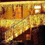 LED Lichtervorhang, LED Lichterkette, Eisregen/Eiszapfen Lichterkette, LED String Licht, Lichterkettenvorhang, Weihnachtsbeleuchtung, Weihnachtsdeko Christmas INNEN und AUSSEN, Warmweiß