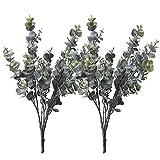 2 Bündel künstlichen Eukalyptus, Realistische künstliche Pflanzen Eukalyptuszweige Faux Eukalyptus für die Innen-Innenküche-Gartendekoration (Graugrüne Pflanze)