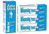 Bioniq Repair Zahncreme Plus und Zahn Milch im Set - Zahnpasta mit künstlichem Zahnschmelz und Zahnfleisch-Schutz und reparierende Mundspülung - 3 x 75 ml / 1 x 400 ml