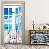 Wandtür Aufkleber Malerei Fenster Landschaft Tapete Wohnzimmer Badezimmer PVC Wasserdichte Türpaste Home Decor Wandaufkleber