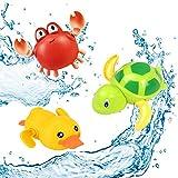 SeWooo 3 Pack Baby Badespielzeug,Wasserspielzeug Kinder Bandewanne,Baby Bade Bad Schwimmen Badewanne Pool Spielzeug Uhrwerk Schildkröte Schwimmbad Spielzeug Für Kleinkinder Jungen Mädchen