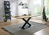 Esstisch TI-0540 Wildeiche Bootsform X-Fuss Metall Schwarz Küchentisch Tisch 160x75x90 cm   180x75x90 cm   200x75x100 cm (200x75x100 cm)