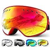 Glymnis Skibrille Snowboard Brille Schneebrille Doppel-Objektiv Schutzbrillen UV-Schutz Anti-Nebel Winddicht für Skifahren Skaten Damen und Herren Jungen und Mädchen mit Reißverschlussbox Rot