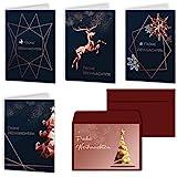 Weihnachtskarten 20er Set mit Umschlägen Urdays – Klappkarten für Weihnachtsgrüße 20 Stück – Frohe Weihnachten Modern Design