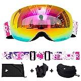 QiKun-Home Anti-UV Anti-Fog Skibrille Männer Frauen Snowboardbrille Jugend Winter Skisportbrille Outdoor Brille Spritztinte 4 mit Zubehör