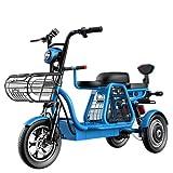 ZYW Roller Elektror Roller DREI Räder Erwachsene Elektrische Fahrrad 30 Ah Premium Bike 500 W 12 cm Dreirad Mit Elektrischen Schloss Kindersitz Dreirad Elektrische Fahrrad,Blau