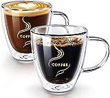 HOKEKI Kaffeetassen, doppelwandige isolierte Gläser, Espressotassen mit Untersetzern, Glaswaren Kaffee Cappuccino Tassen mit Griff (Transprent)