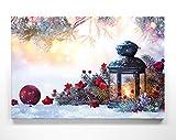 Weinachts-Bilder Laterne im Schnee - als 90x60cm großes Leinwand Wandbild. Perfekt als Hintergrund und Dekoration zu Weihnachten für Wohnzimmer & Schlafzimmer. Aufgespannt auf 2cm Holzrahmen