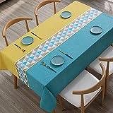 Leicht abwischbare, wasserdichte Party-Tischdecke, dekorative Tischdecke, PVC-Tischdecke für Picknick-Hochzeiten im Innen- oder Außenbereich, Geburtstagsfeiern mit Retro-Blumendruck Blau-1 140*200cm